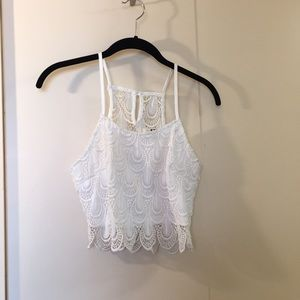White lace cropped tank from LF size Small